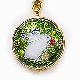 懐中時計 日本製 七宝 うさぎと木の実(緑)恋うさぎシリーズ【きもの山喜】