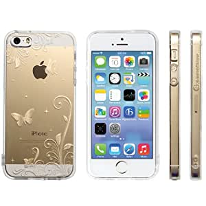 Highend berry iPhone SE 5 5s ストラップ ホール 保護キャップ 一体型 ソフト TPU ケース ストラップ 付き パラダイス