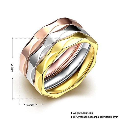 Rockyu ジュエリー ブランド メンズ レディース リングマルチカラー チタン 3連リングゴールド 18k ピンクゴールド 金 シルバー カラーリング 指輪