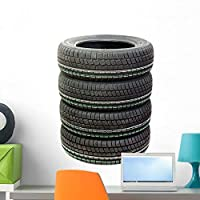 Wallmonkeys Four New Tires Stacked Wall Decal Peel and Stick Graphic (24 in H x 18 in W) WM142912 [並行輸入品]