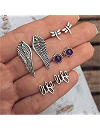 Zranda+ Little Fresh Dragonfly Wings English Small Letters Like Earrings with Drill Studs