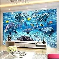 Xueshao 3D漫画壁画壁紙Hd水中世界イルカ写真壁布子供子供の寝室の背景壁3D装飾-280X200Cm