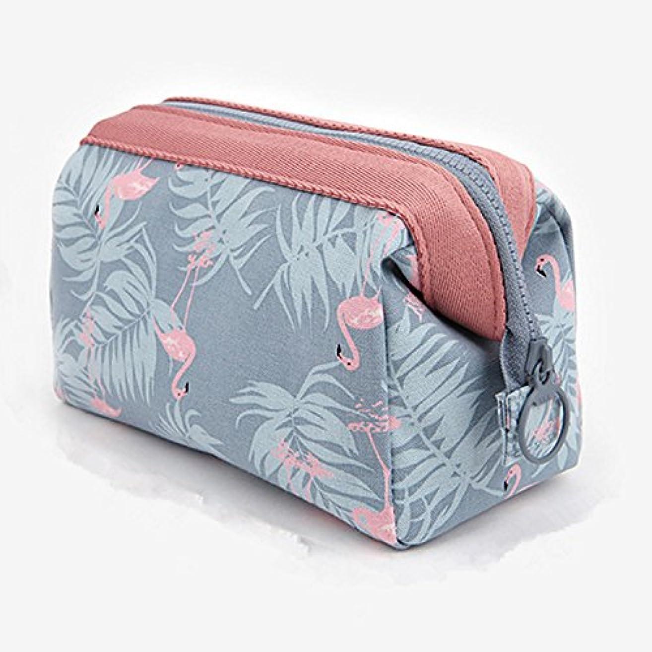 Cindaralla 多機能立体大容量トラベルバッグ収納バッグ婦人用洗える防水化粧品バッグフラミンゴ柄化粧品バッグ旅行化粧品バッグ 気配りの行き届いたサービス (Style : Sky blue flamingo)