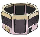 ottostyle.jp 折りたたみ八角形ペットサークル Lサイズ ピンク (約)114cm×62cm 【折りたたみ簡単!急な来客時やアウトドアに】