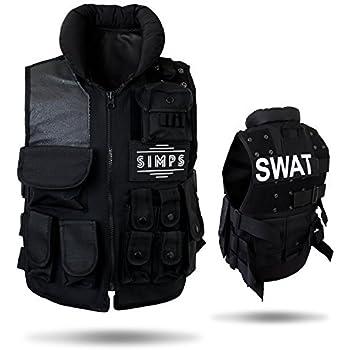 【SIMPS】 タクティカルベスト サバゲー ミリタリー ベスト 特殊部隊 SWAT 防弾チョッキ フリーサイズ 調節可能 カスタムワッペン付き (ブラック)