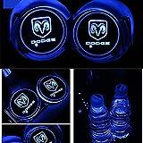 車用 LED ドリンクホルダー レインボーコースター 車載 ロゴ ディスプレイライト LEDカーカップホルダー マットパッド (ダッジ Dodge) - 2,100 円