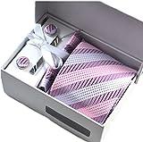 収納 ボックス 付き ネクタイ ネクタイピン チーフ カフス ボタン 4点 セット 選べる 9色 結婚式 二次会 (ピンク系ストライプ 1)