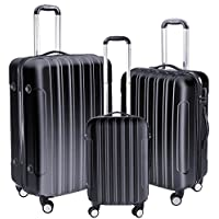 "Yescom 3 Piece Luggage Set 20"" 24"" 28"" Rolling Travel Case 4 Wheels Spinner Suitcase Lightweight Lockable ABS Black"