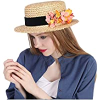 Flower Boater hat. Boater hat. Straw hat. Spring hat. Summer hat. Wedding hat. Bridal hat. Flower Fascinator. Tea Party hat. 2018 New, (Color : Natural, Size : 56-58cm)