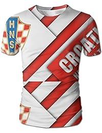 クロアチア サッカー 2018 メンズ 丸首 Tシャツ 半袖 今季最新 量軽 爽快 3Dプリント 薄手 吸汗速乾 ファッション おしゃれ L
