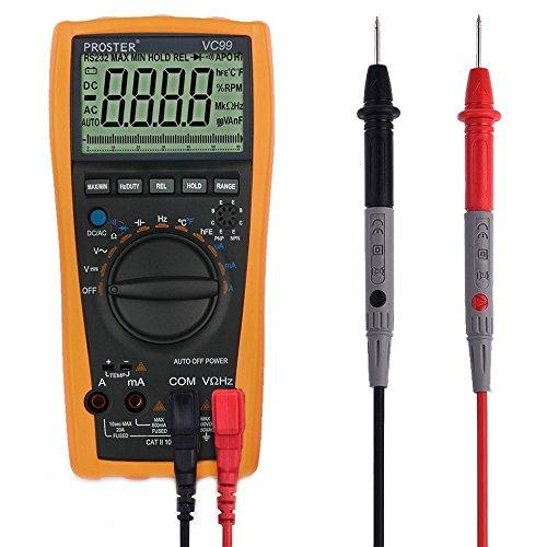 proster VC99 デジタル マルチメーター 大型液晶搭載 最大表示6000 電圧 電流 抵抗 温度 導通 日本語説明書付き 18ヶ月保証