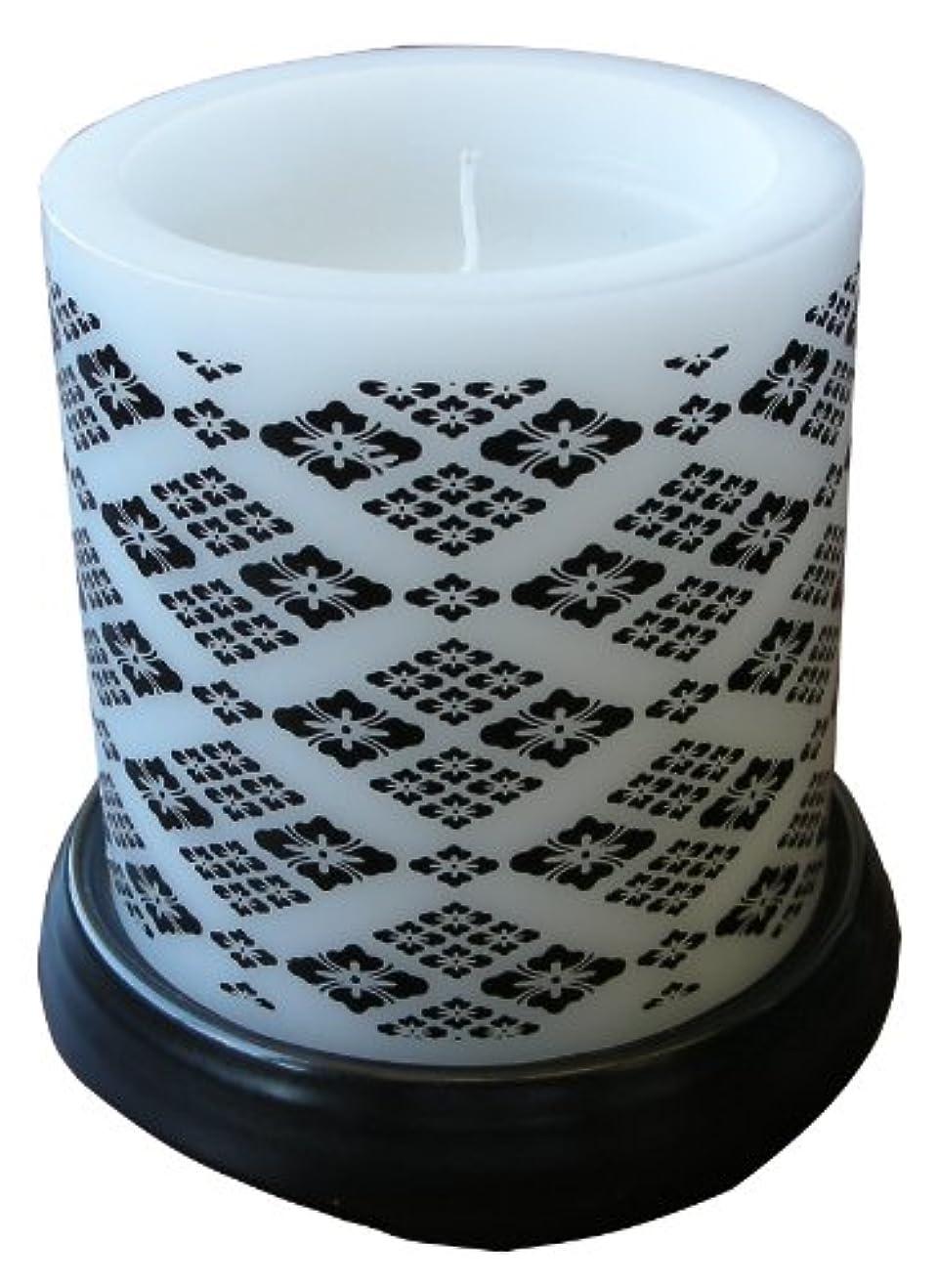 土器ロッド夜明けにマルエス 和みローソク 菱模様 黒 燭台付き