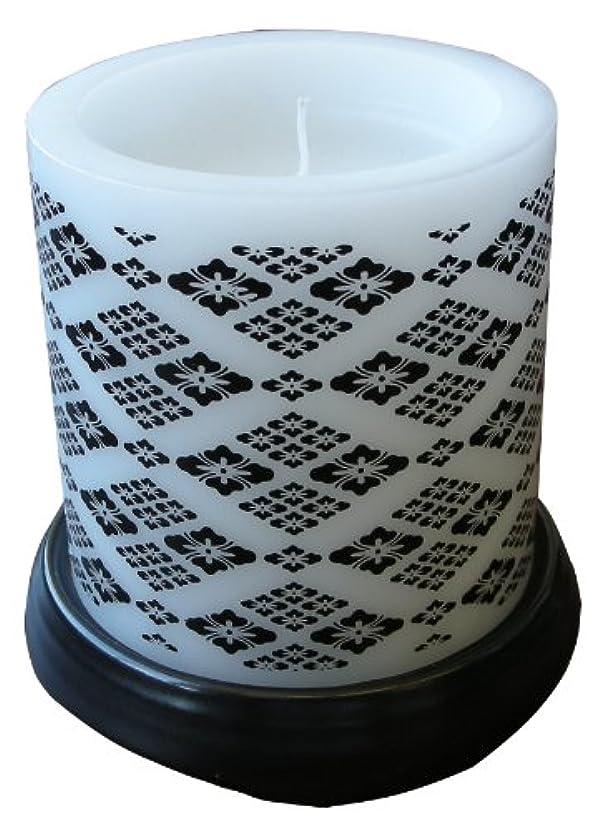 証明書評論家コードレスマルエス 和みローソク 菱模様 黒 燭台付き