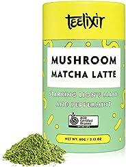 Teelixir Mushroom Matcha Latte Drink Mix (60 g) Certified Organic Ceremonial Grade Japanese Matcha Green Tea P