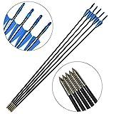 MILAEM 31.5インチ 弓矢 ガラス繊維 弓矢用道具 アーチェリー弓矢 6・12セット 狩猟矢 魚釣り 練習 (6セット)