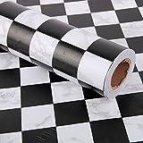 FUT(エフュ ト) PVC原材料自由裁断はがせるDIY壁紙シールリビング/和室/店舗/会社/オフィスにお洒落ウォールステッカー黒と白の格子縞幅45cm*500cm