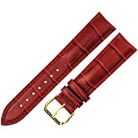 RECHERE 12mm Red Replacement Leather Watch Band Strap Gold Pin Buckle