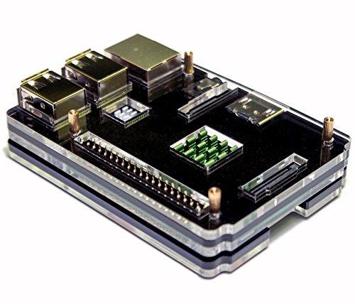 『waves Raspberry Pi 3 Model B 用 ケース ヒートシンク 3点付 Pi2 共用 国内発送 黒』のトップ画像