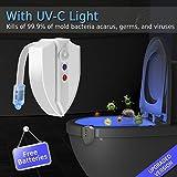 トイレ夜ライトモーションセンサー、Lantooトイレボウルライトwith uv-cライト、ip65防水、8色、内部色メモリ、ライト検出 ホワイト LK-Z-B0032-TL