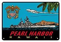 22cm x 30cmヴィンテージハワイアンティンサイン - パールハーバー、ハワイ - 米海軍駆逐艦 - によって作成された リンドグレーン兄弟 c.1948