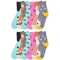 I&S 12 Pairs Girls Kids Novelty Fashion Designs Fun Colorful Pack Crew Socks