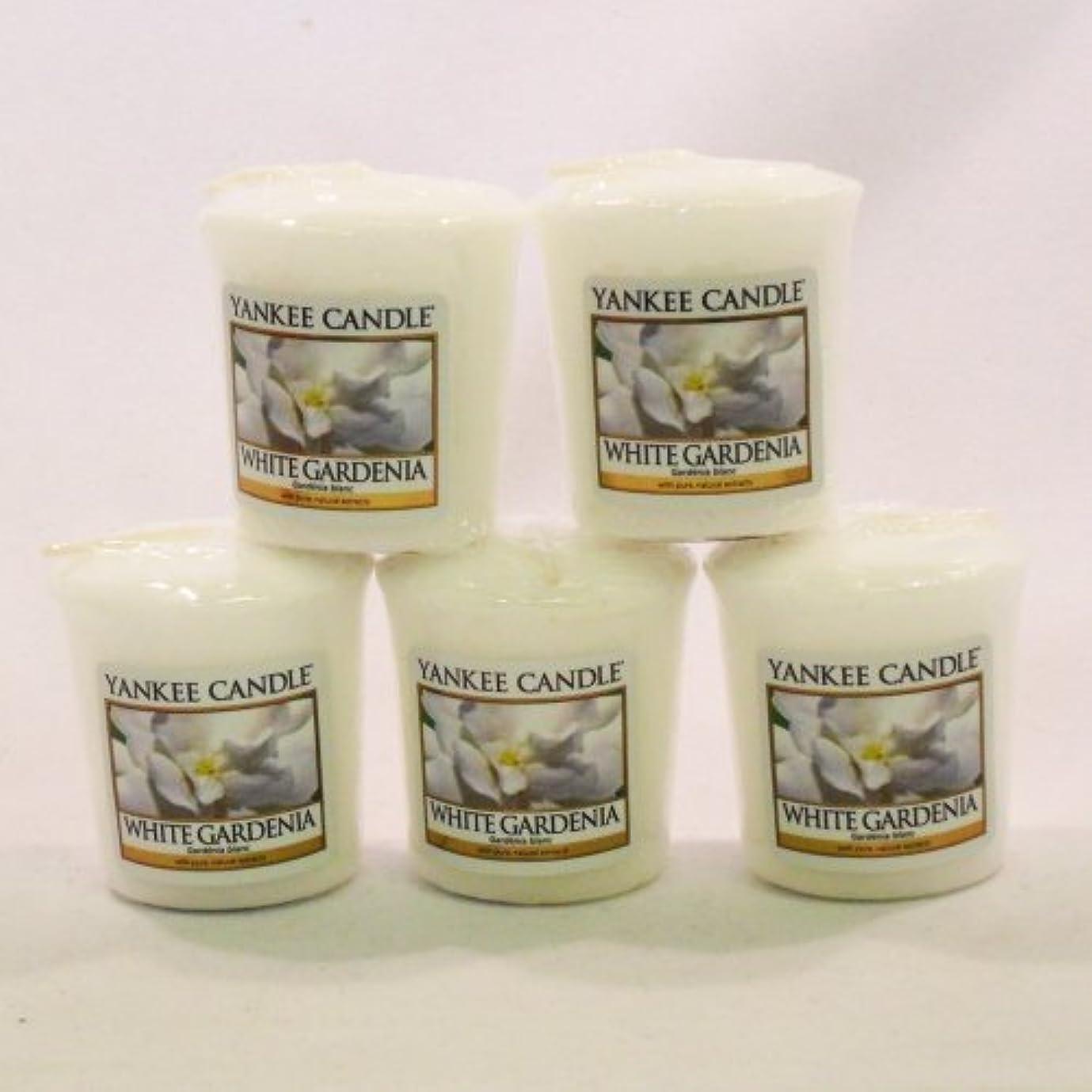 の配列デッキ路面電車Yankee Candleサンプラーvotives-yankee Candle – 5 xホワイトGardenia Votive Samplers – 新しい香りfor 2012 。