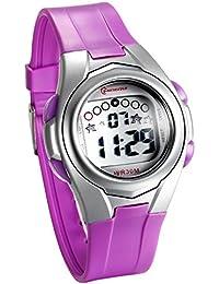 JewelryWe 多機能 子供腕時計 スポーツウオッチ アウトドア デジタル表示 3ATM防水 三色選択-[パープル]