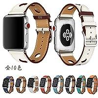 【万屋】Apple Watch バンド 全9色 Apple Watch Series 3 / Series 2 / Series 1 に向け人気レザーバンド 38mm & 42mm 対応 イタリア高級牛革レザーバンド 人気手作りのカーフレザー製バンド (Apple Watch 42cm, 白/ルージュH)