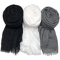 MANSHU 3PCS Women Soft Cotton Hemp Scarf Shawl Long Scarves,Scarf and Wrap,Fancy Stylish Hijab,Big Head Scarves Muslin.