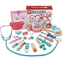 Zhenyu 赤ちゃん用おもちゃ おもしろ遊び リアルライフ コスプレ 20ピース 医師 歯医者 薬箱 ごっこ遊び ドクター スピーベルゴ付き 木製玩具 子供用おもちゃ