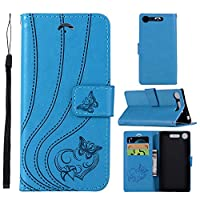 Sony Xperia XZ1 case, Moonmini バックシェル Sony Xperia XZ1 バックシェル Built-in Stand Function for Sony Xperia XZ1 – Blue Leather
