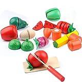 おままごと ごっこ遊び サクッと切れるままごと キッチンプレイ 切れる 野菜 果物 包丁 まな板 付き 調理セット 子供 知育玩具 おもちゃ 木製