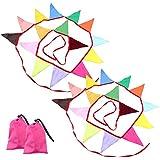 フラッグガーランド 2本セット 320cm キャンプや催し物の装飾に カラフル レインボーカラー 三角旗 長さ320cm パーティーフラッグ バンティング デコレーション 祝い事 記念日 各種イベントを彩る FMTSELFLAG15SET2