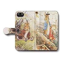 iPhone7 iPhone8 ピーターラビット ベンジャミンバニー スマホケース 手帳型 全機種対応 ケース 人気 絵画 個性的 AQUOS