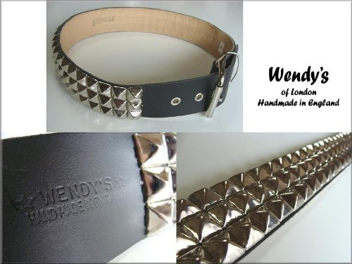 ウェンディーズ WENDY'S of LONDON 3連 ラージ ピラミッド スタッズ ベルト(SV/BK)[並行輸入品] (XLサイズ(35-40インチ) ウエスト:90cm⇒102cm)