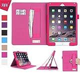 iPad Air2 ケース アイパッド エアー2 ケース,Fyy [豪華高品質 全面保護] PUレザーケース 高品質 スリムケース カード収納/タッチペンホルダー/ 伸縮性ハンドストラップ付/ スタンド機能付き/ マグネット開閉式 マゼンタ