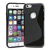 Apple iPhone 7 ケース TPU グリップカバー [ アイフォン7 iPhone7 4.7 インチ 対応 ] 薄型軽量16g / 滑止め加工 / ソフトフィット / ロゴが見えるオープンモデル【Design S Black (黒)】
