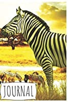 Journal: Cute Zebra Notebook for Kids or Animal Lovers to Writing (6x9 Inch.) Journal Lined Paper 120 Blank Pages for Children (Savanna Yellow&White&Black Pattern)