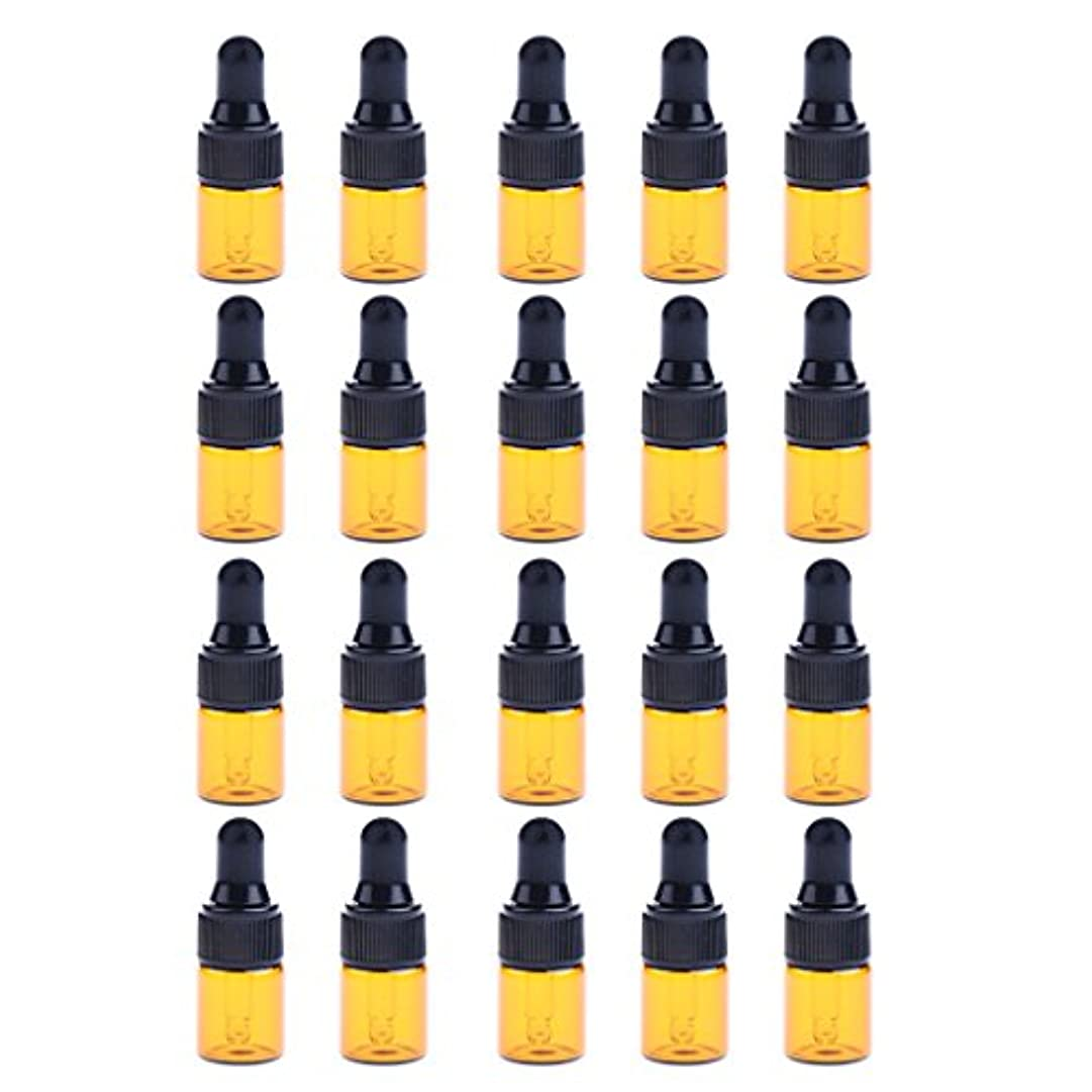 スプリット知っているに立ち寄るアイドルIPOTCH 約20個 ドロッパーボトル エッセンシャルオイル ミニサイズ 詰め替え可 ガラス スポイトボトル 3サイズ選べる - 1ML