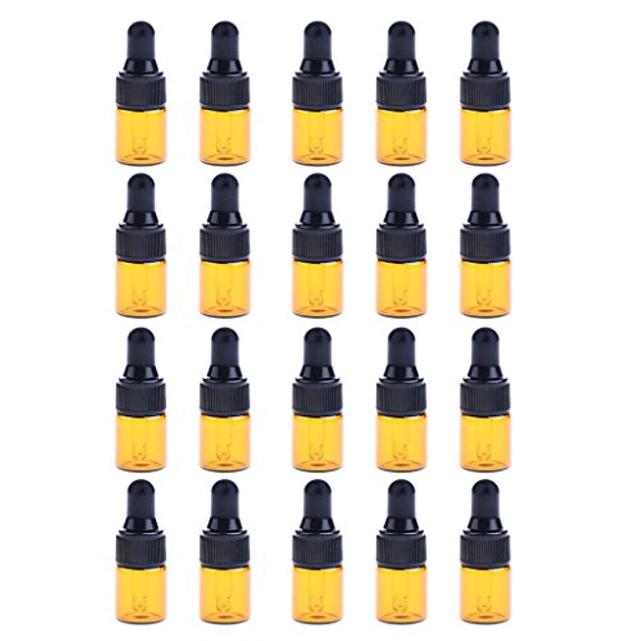 六イサカ脅威IPOTCH 約20個 ドロッパーボトル エッセンシャルオイル ミニサイズ 詰め替え可 ガラス スポイトボトル 3サイズ選べる - 1ML