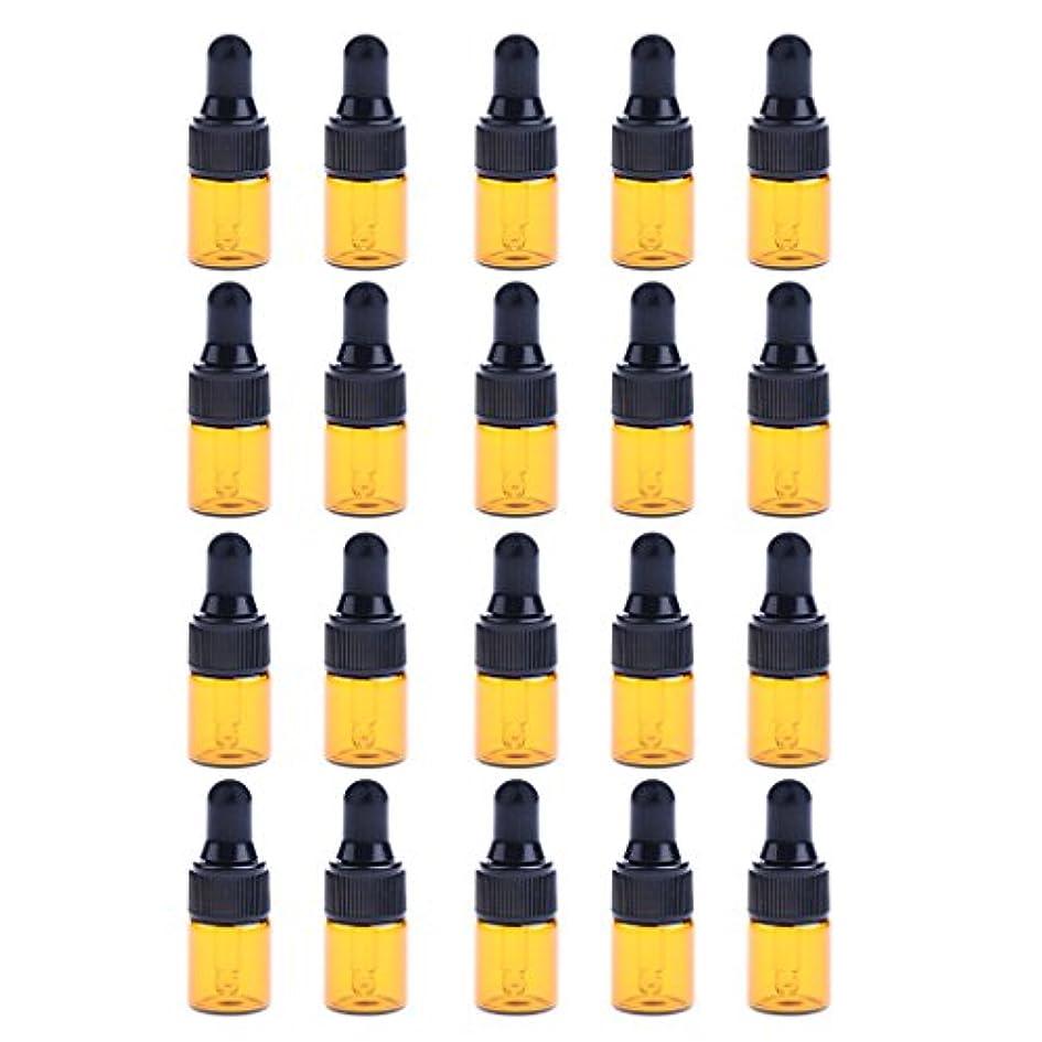 ドローバナー劇的IPOTCH 約20個 ドロッパーボトル エッセンシャルオイル ミニサイズ 詰め替え可 ガラス スポイトボトル 3サイズ選べる - 1ML