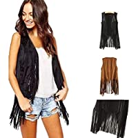 Dongmei Short Paragraph Women's Autumn and Winter Suede National Sleeveless Fringe Vest Jacket (Brown,XL)