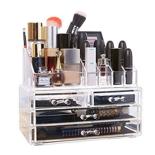 DreamGenius 化粧品収納ボックス メイクケース コスメ収納スタンド ジュエリーボックス 引き出し 小物/化粧品入れ?透明アクリル