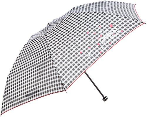 (ムーンバット)MOONBATランバンオンブルー婦人折りたたみミニ傘ギンガムチェックワンポイントロゴ入り21-084-52120-0215-55ブラック55cm