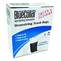BlueCollar N4828EW RC1 Drawstring Trash Bags, 13 gal, 0.80 mil, 24 x 28, White (Pack of 3) by Blue Collar Co.