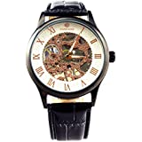 GuTe出品&男女両用&スケルトンに彫り&アンティーク風&手巻き腕時計
