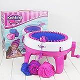 Saikogoods おかしいデザイン子供女の子編機DIYマニュアル帽子スカーフ編み機ニットセーターのおもちゃ子供のための ピンク&ホワイト