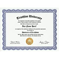 Triathlon Degree: Custom Gag Diploma Doctorate Certificate (Funny Customized Joke Gift - Novelty Item) by GD Novelty Items [並行輸入品]