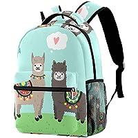 Backpack Llama and Alpaca in Love Standing On Green Grass School Bag Bookbag Hiking Travel Rucksack