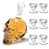 Amzdeal 6 x Crystal Skull Head Glass (75ml) + 1 x Wine Decanter Wine Carafe (350ml)